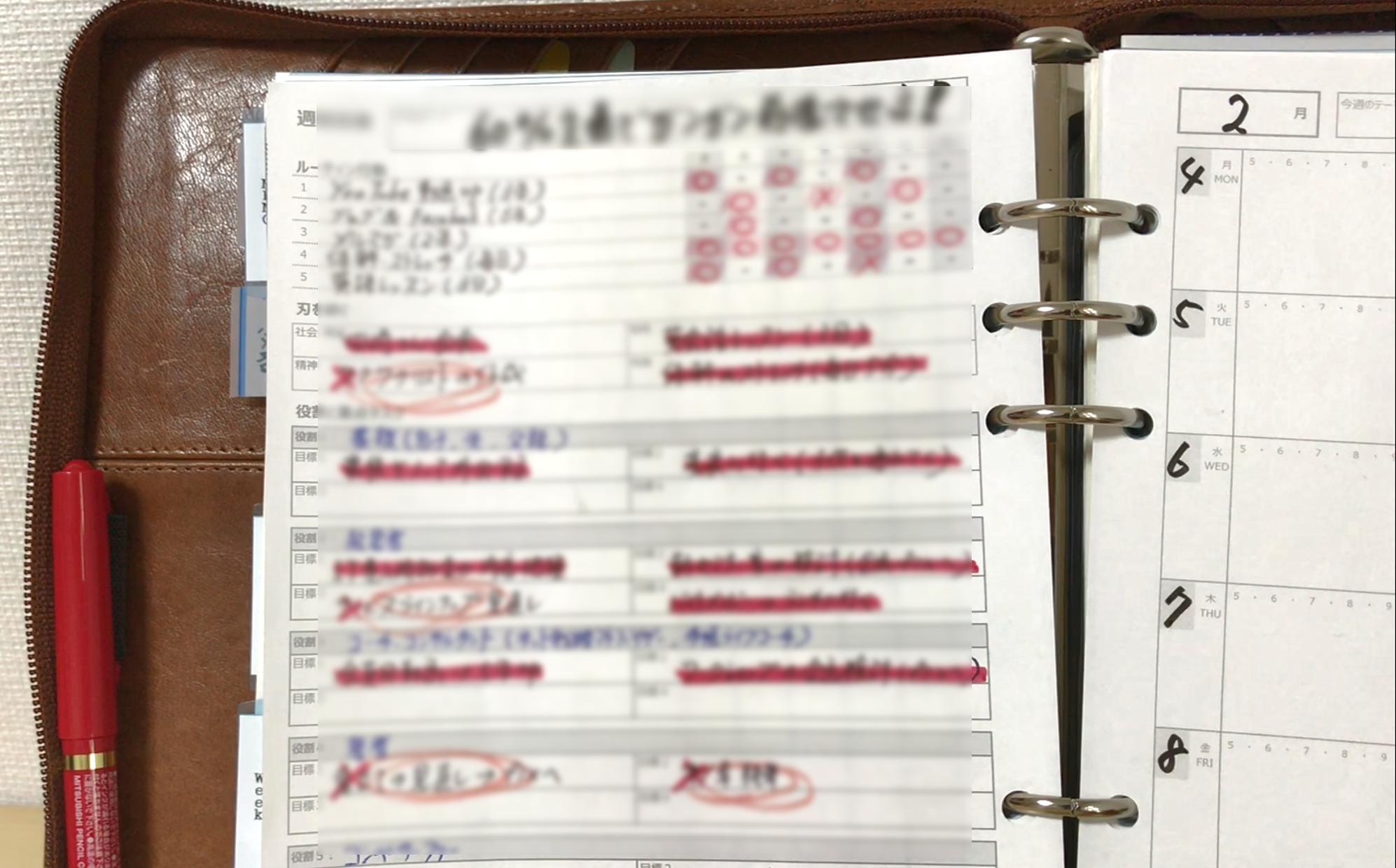 【会員限定動画】週間行動計画表、ウィークリーリフィルの活用事例(1)目標記入欄